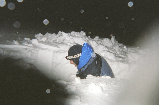 Oh yea - didn't bring a tent? Fun times digging an unplanned snow hole
